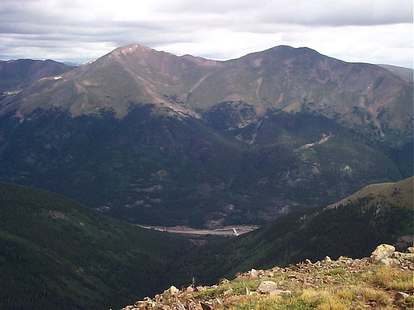 My route up the ridge to the summit of Bard Peak (right) as seen from Kelso Mountain.  Mount Parnassus is on the left.