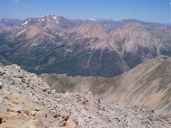 About 6 miles to the north-northwest you have a clear view of La Plata Peak.  You can also see Mount Massive and Mount Elbert in this photo.