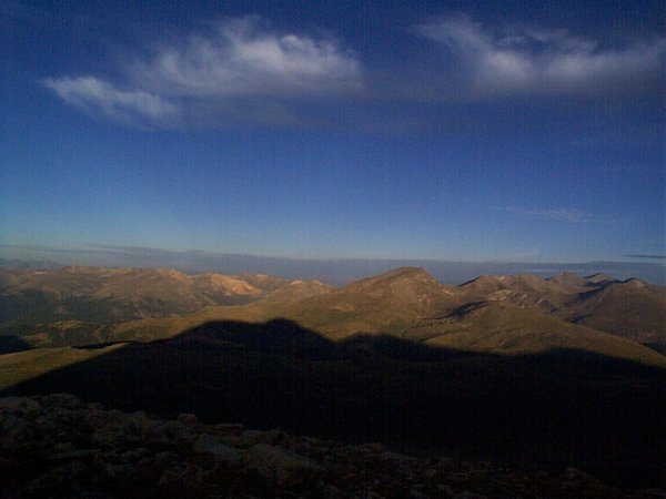 The shadow of Mount Bierstadt.