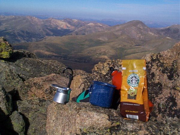 Starbucks espresso at 14,060 feet above sea level.