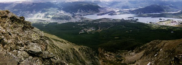 Looking down on the towns of Frisco (right), Dillon / Silverthorne (left) and Dillon Reservoir.