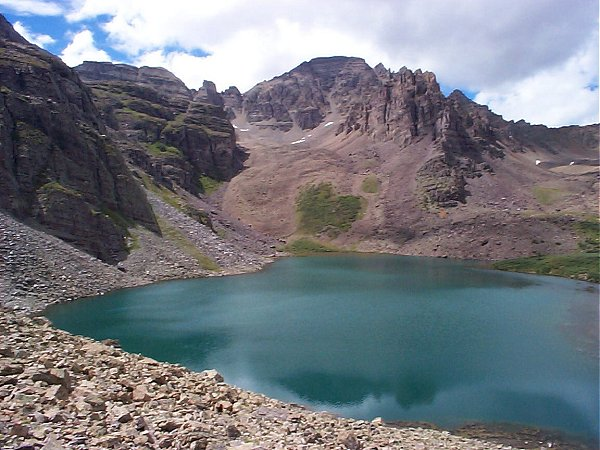 The view of Cathederal Peak (el. 13,943) over Cathedral Lake (looking west-northwest).