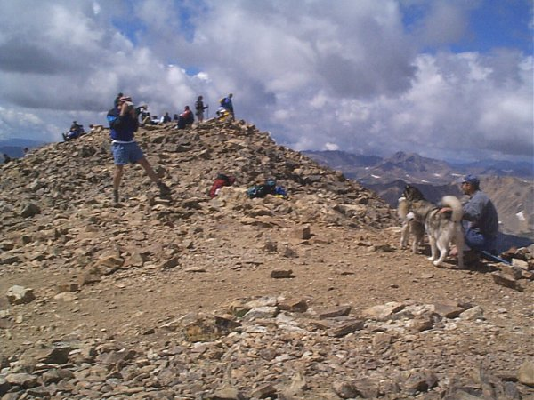More crowds (and dogs) on the summit.
