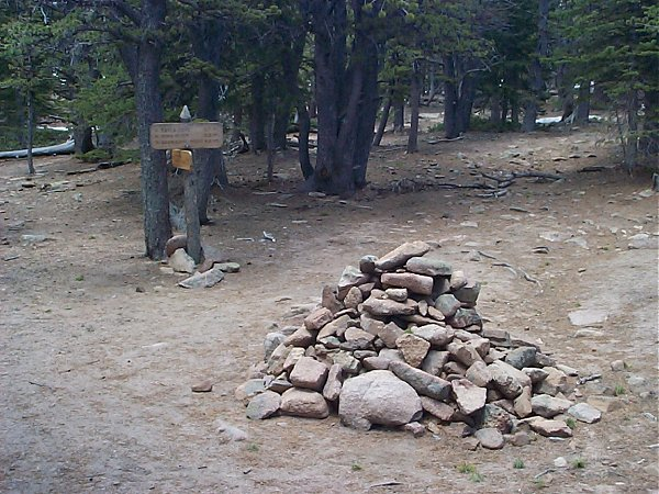 Check out the size of this cairn where you need to turn right to head up to Estes Cone (to the left is Storm Pass) about 2.5 miles into the hike (10,200 feet).