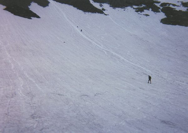 Hikers sliding down the snowfield.