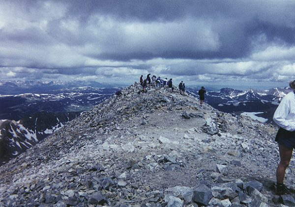 The crowd on the summit of Grays Peak.