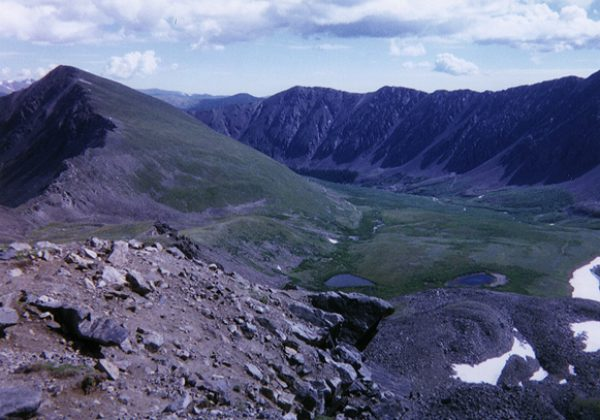 Looking back down the valley from well above treeline.