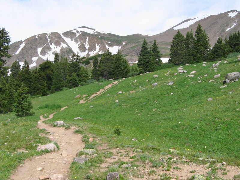 The last part of the hike up to the lake is steeper than going through the meadows and trees.