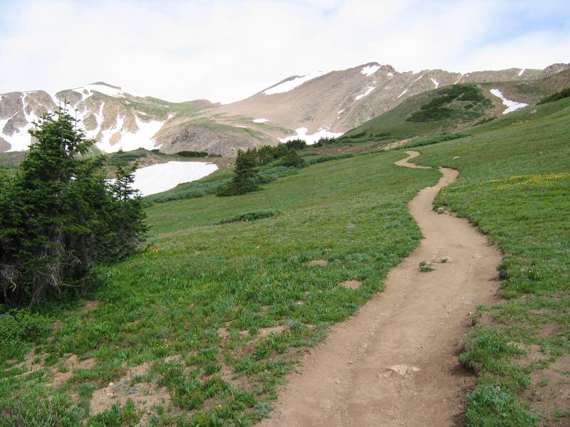 And looking west where our trail heads - the final push up to Herman Lake.