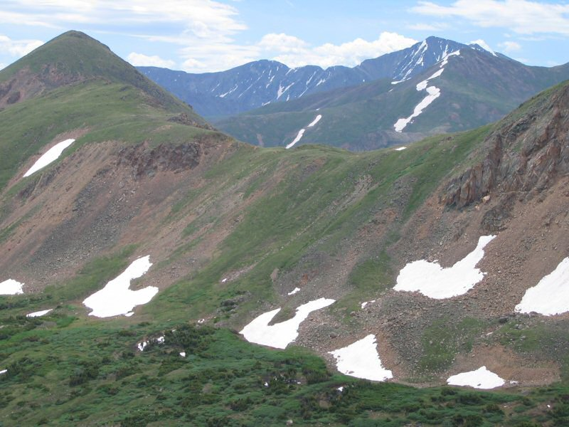 Looking at the back side of Bard Peak, you can also see Torreys Peak and Grays Peak is also barely visible.