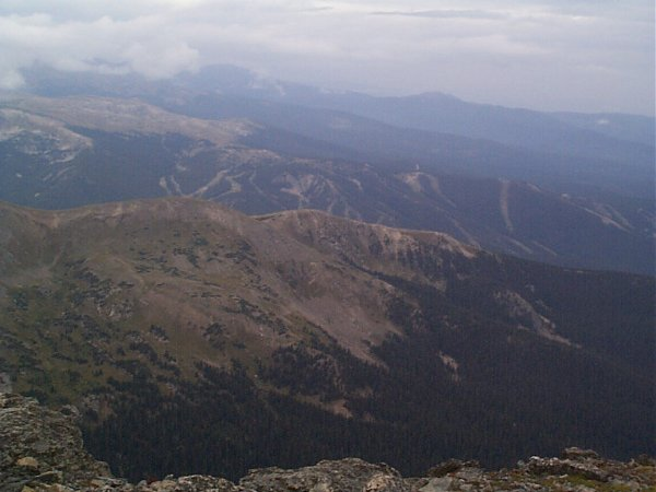 Winter Park and Mary Jane ski areas as seen by looking northwest from the summit of James Peak.