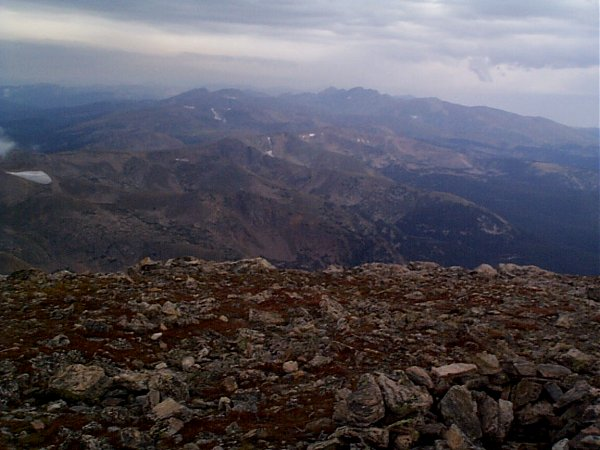 The view north-northeast towards Rocky Mountain National Park and Long's Peak.