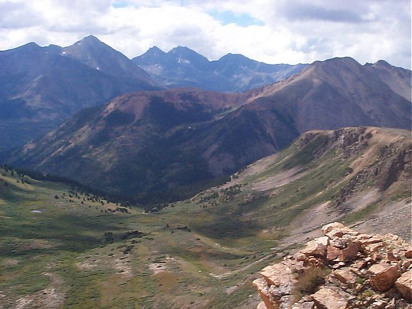 From left to right, Brown's Peak (13,523 feet), Huron Peak (14,003 feet) and the Three Apostles.  Winfield Peak (13,077 feet) and Virginia Peak (13,088 feet) are one valley closer on the right.