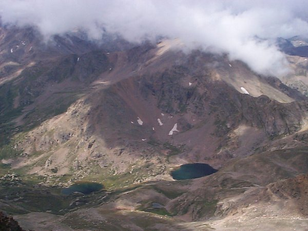 Looking west-southwest down on North Halfmoon Lakes from the summit of Mount Massive.