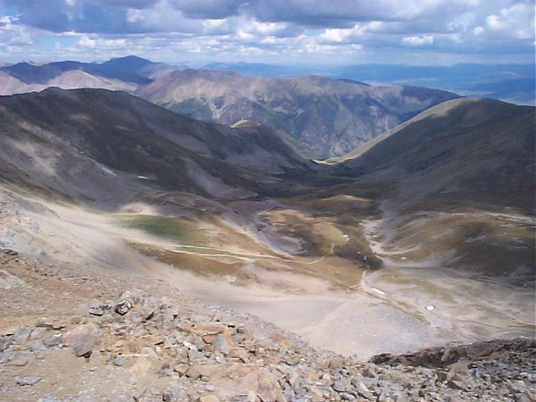 And looking down on Missouri Gulch from the summit.