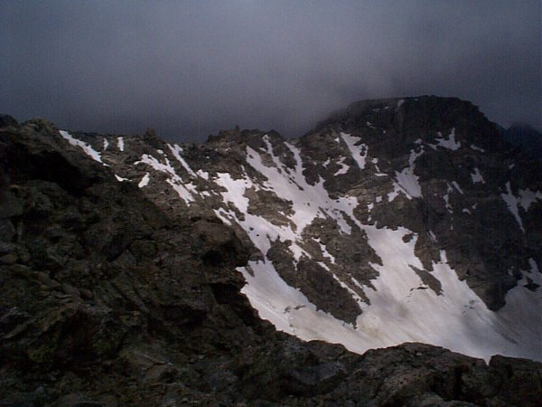 Storm clouds over North Arapaho Peak.