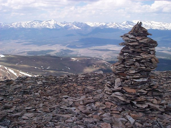 The view west-southwest from the summit includes Mount Elbert (14,433 feet) on the left and Mount Massive (14,421 feet) on the right.