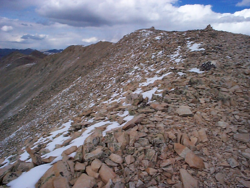 Looking back on where I came, you can clearly see the many rock structures on and near the summit.