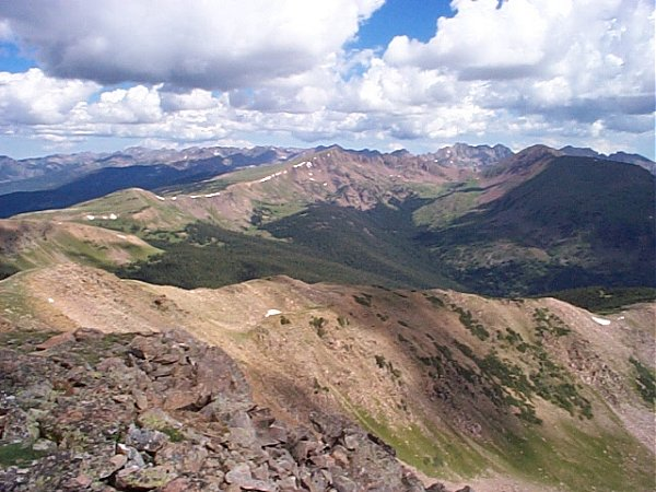 The view of the Gore Range looking to the north-northwest from the summit of Uneva Peak.