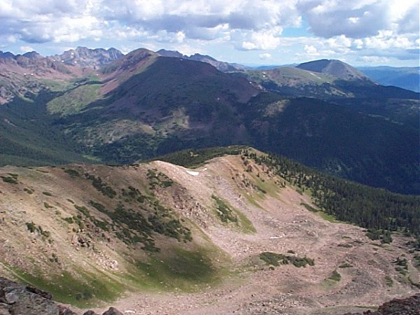 Buffalo Mountain (right center) and Red Peak (left center) as seen from the summit of Uneva Peak.