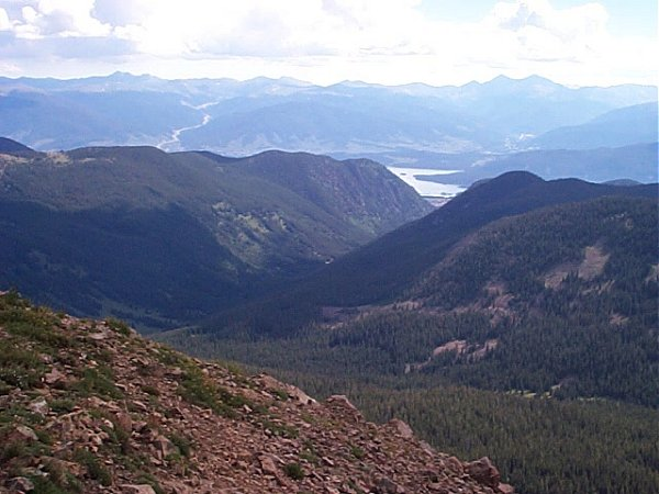 Dillon Reservoir (center), I-70 (left), and the Tenmile Creek Valley below - looking northeast from the summit of Uneva Peak.