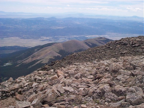 From the summit, the town of Buena Vista is clearly visible 9-3/4 miles to the east.