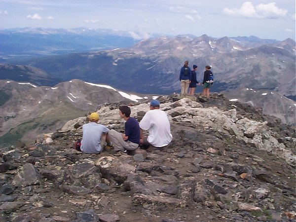 On the summit, the Three Apostles including Ice Mountain (13,951 feet) are shown when looking northwest.  Huron Peak (14,005 feet) is barely visible on the right side of this photo.