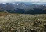 Grays and Torreys Peaks (center) and Grizzly Peak (center right) as seen from the summit of Bard Peak.