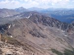Three more 14'ers - this time looking further to the southeast: Mount Yale - 14,196 feet, Mount Princeton - 14,197 feet, and Mount Antero - 14,269 feet.