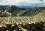 Mount Democrat (left center) and the shoulder of Mount Cameron (right) as seen from the summit of Mount Bross.