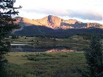From our camp site at Little Molas Lake, the sunset over Snowden Peak (13,077 feet) the night before our hike.