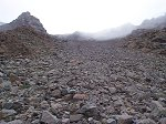 About half way down the couloir, I took a break to remove the gravel from my hiking boots.  That's when I took this photo looking back up to where I had just come down.