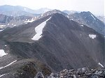 From the top, you can see a summit sometimes called Atlantic Peak just to the south.  The high point mentioned in the previous photo is barely visible on the left hand side of this photo.  On the horizon, (from left to right) are Mount Lincoln, Mount Cameron, and Mount Democrat.