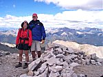 A couple of happy hikers on the summit [Mary and David].