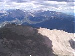 From the summit looking north-northwest, you can see Mount Yale (left), Mount Harvard (center distant), and Mount Columbia (right).