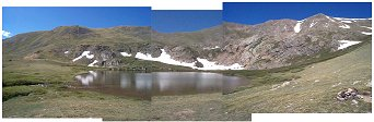 Gibson Lake - this is not a true panoramic image but rather three photos attempting to create the feel of being surrounded by the mountains.  You can mouseover the image to see my path from the lake up to the summit of Whale Peak.